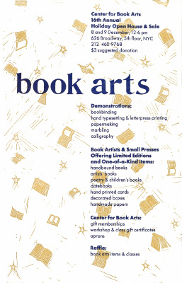 Book Arts : Center for Book Arts 16th Annual Holiday Open House & Sale : 8 and 9 December, 12-6 pm, 626 Broadway, 5th floor, NYC ...