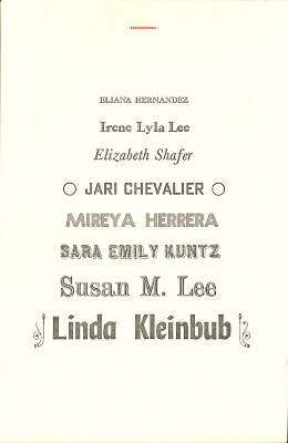 Letterpress Printing & Fine Press Publishing Seminar For Emerging Writers - May 6-10, 2015 / Jari Chevalier, Eliana Hernandez, Mireya Herrera, Linda Kleinbub, Sarah Emily Kuntz, Irene Lyla Lee, Susan M. Lee, Elizabeth Shafer