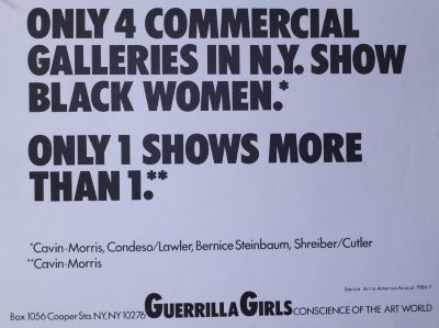[Only 4 Commercial Galleries in N.Y. Show Black Women.] / Guerrilla Girls