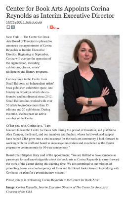 Screengrab of text of the announcement and a portrait of Corina Reynolds