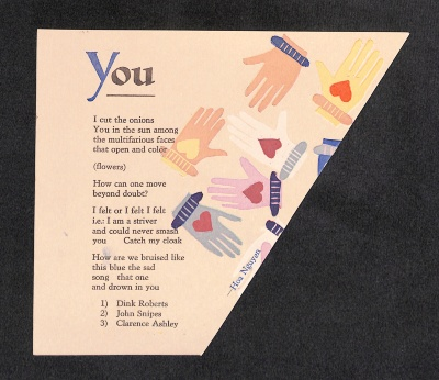 You / text by Hoa Nguyen; printed by Christopher O. McCarter
