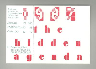 1987 The Hidden Agenda / Esther K. Smith; Dikko Faust; Georgia Luna