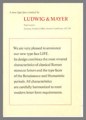A New Type Face Created by Ludwig & Mayer Type Foundry / Ludwig & Mayer