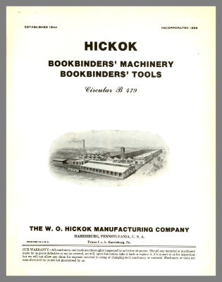 Hickok Bookbinders' Machinery, Bookbinders' Tools / W.O. Hickock Manufacturing Company