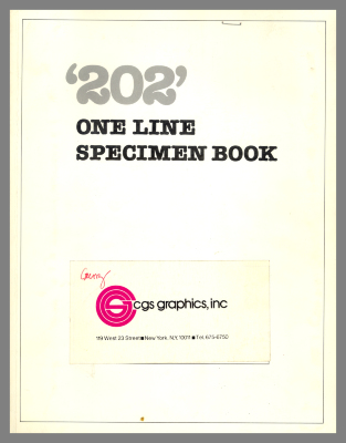 '202' One Line Specimen Book / CGS Graphics, Inc.