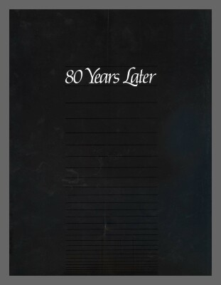80 Years later / Compiled and edited by Mary Lyn Ritzenthaler and Spitzmueller