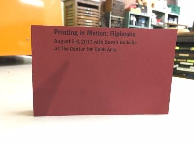 [Printing in Motion: Flipbooks class creation] / Maria Lobo, Leah Muntges, Mary Claire Nemeth, Gabriela Salazar, Richard Tran