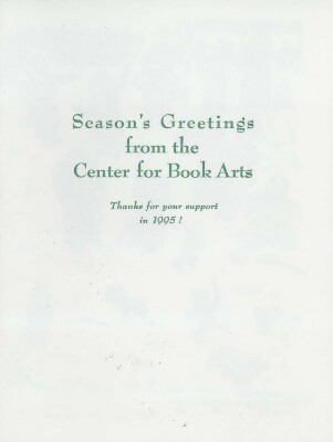 [1995 season's greeting card from the Center for Book Arts]