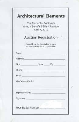 [Auction registration form for the Center for Book Arts' 2012 annual beneft and auction]