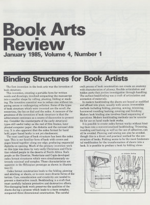 Book Arts Review, Volume 4, Number 1
