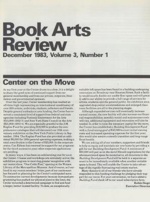 Book Arts Review, Volume 3, Number 1