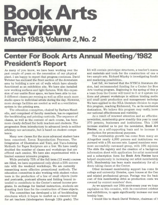 Book Arts Review, Volume 2, Number 2