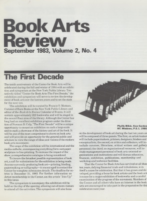 Book Arts Review, Volume 2, Number 4