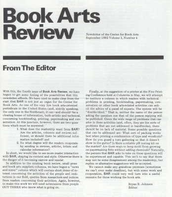 Book Arts Review, Volume 1, Number 4