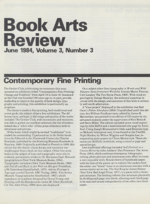 Book Arts Review, Volume 3, Number 3