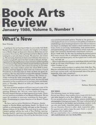 Book Arts Review, Volume 5, Number 1